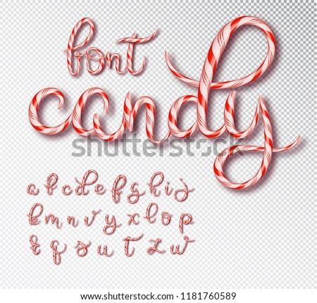 Christmas candy cane lettering. Font set with caramel letter . Sweet 3d alphabet isolated . Vector illustration 10 EPS.