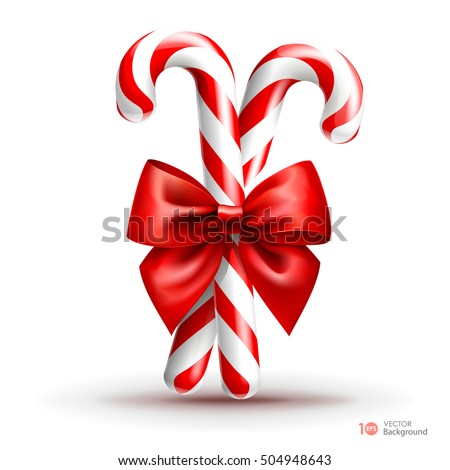 Christmas candy cane with red bow  isolated on white background. Vector  EPS 10.