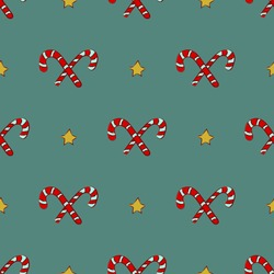 Christmas candy wand staff with gold star, Red white striped sugar stick seamless pattern
