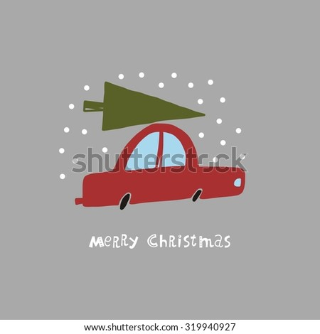 christmas car funny vector card