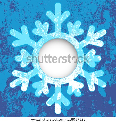 Christmas card - a snowflake, with space for text or image. EPS10 vector illustration. Grunge effect can be cleaned easily.