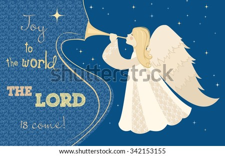 christmas card angel with pipe