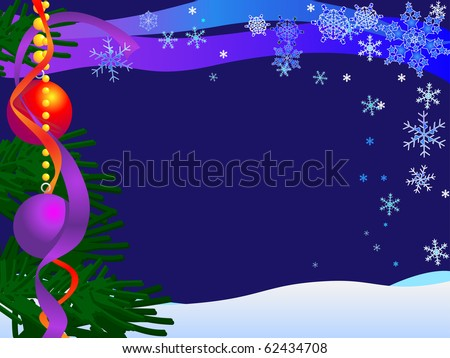 Christmas Card Illustration with snow, sky, snow, snowflakes, baubles and tree : Shutterstock