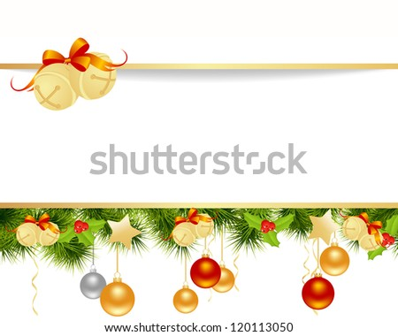 Christmas card background with toys. Vector illustration. - stock vector