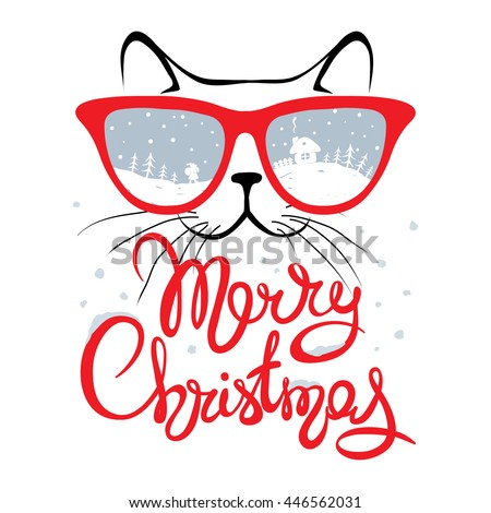 christmas card  cat in glasses