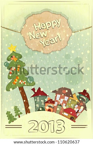 Christmas card - Christmas tree and small houses - postcard in retro style - vector illustration