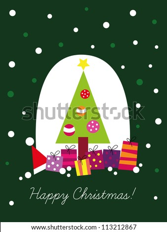 Christmas card, Christmas tree with decoration