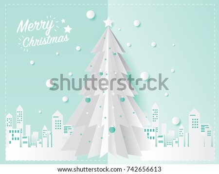 Christmas card concept and Christmas tree in the city with snow design for festival in winter season. craft paper art style. Vector illustration.