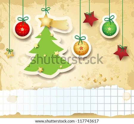 Christmas card, custom background. Vector