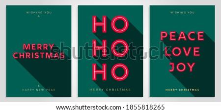 Christmas Card Design Template. Merry Christmas Card Set with 3D Creative Text Typography. Merry Christmas, HO HO HO, Peace Love Joy. Luxury Elegant Modern Minimal Style. Vector Christmas Cards EPS10