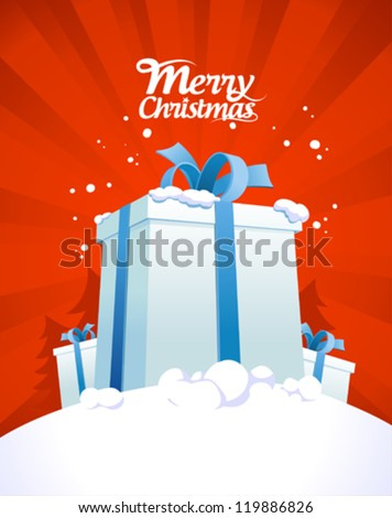 Christmas card design template with big gift boxes.