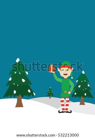 christmas card elf snowland