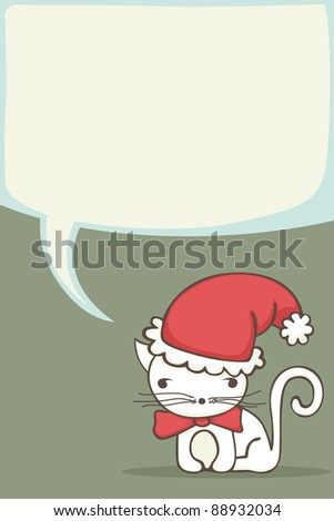 Christmas card for kids with cartoon cat wearing a Santa hat.