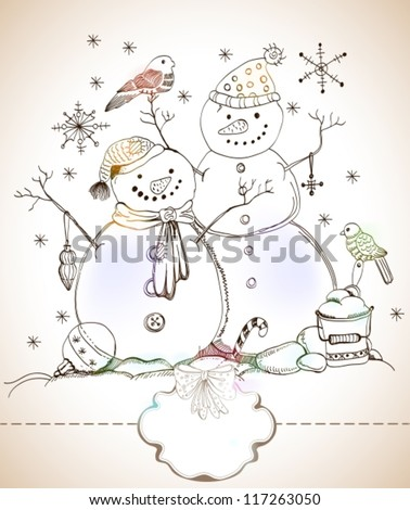 christmas card for xmas design with balls, bird and hand drawn snowmen and label for text, vector