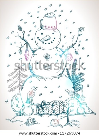 christmas card for xmas design with balls, bird, gift and hand drawn snowman, vector