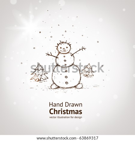 christmas card for xmas design with fur tree and hand drawn snowman.