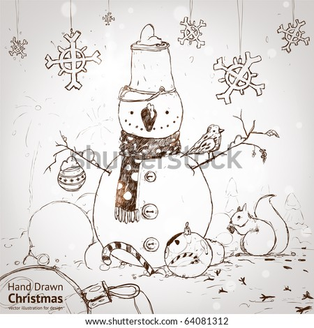 christmas card for xmas design with fur tree, snowflakes, ball, bird, squirrel and hand drawn snowman.