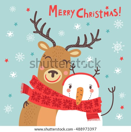 Christmas Card Funny Characters Deer And Snowman Hugging