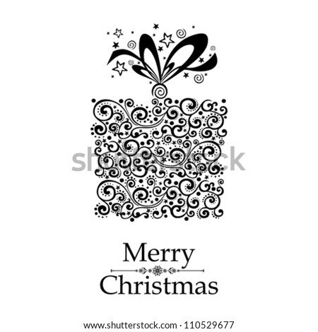 Christmas card. Gift box with ribbon isolated on White background. Vector illustration