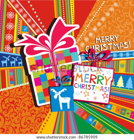 Christmas card. gifts box on colorful background. Vector Illustration