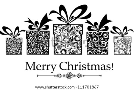 Christmas card. gifts box with ribbon. Vector Illustration