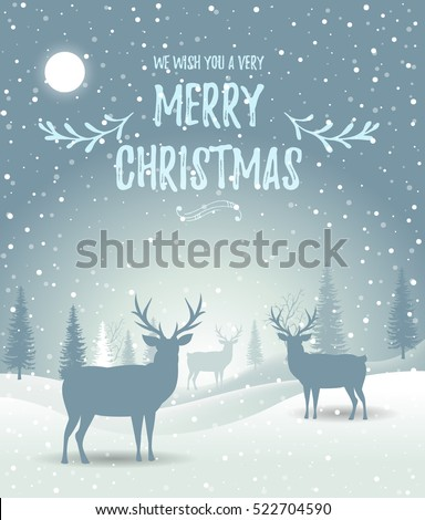 Christmas card. Holiday winter landscape. Winter christmas background with fir tree. Merry Christmas handdraw style lettering . Silhouettes of deer in a winter landscape. Vector illustration. EPS 10