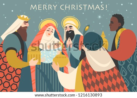 Christmas card in retro style with three kings bringing gifts to Jesus. Vector illustration in cartoon style.