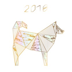 Christmas card in the style of minimalism. Year of the dog. Stylized geometric model of a polygonal dog on a white background. Illustrations with gold lines. Origami. Low poly illustration