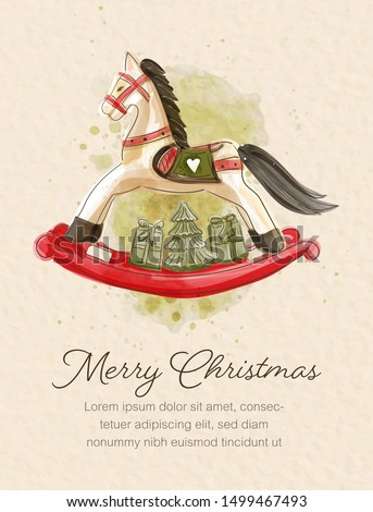 Christmas card in watercolor painting of rocking horse with gift boxes and Christmas tree. Photo stock ©