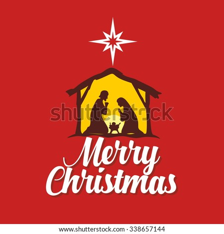 Stock Photo Christmas card. Mary and Joseph with the baby Jesus in Bethlehem