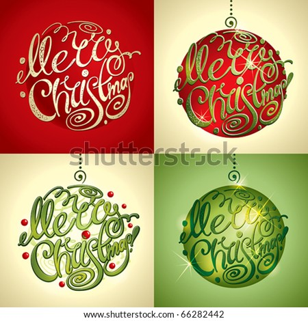 Christmas Card. Merry Christmas lettering by four styles of a writing and color. Vector illustration.