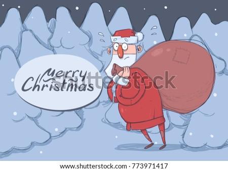 christmas card of funny santa