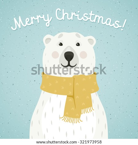 christmas card of polar bear