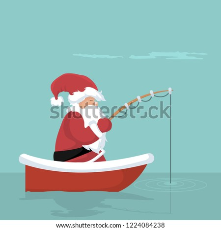 Christmas card of Santa Claus fishing in his boat