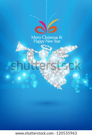 christmas card on blue