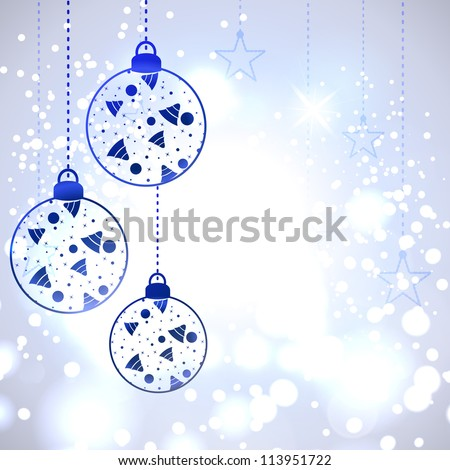 Christmas card or background with decorative eve balls, snowflakes and lights. EPS 10.