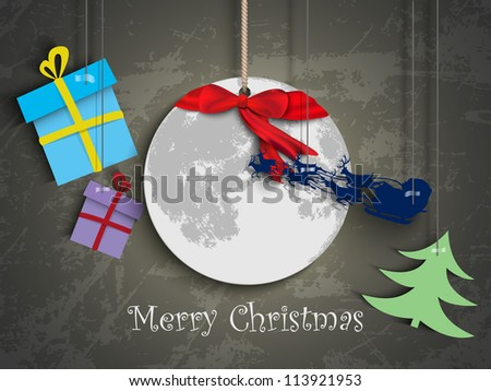 Christmas card. paper moon and Santa Reindeer