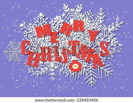Christmas card. Paper snowflakes, bauble and Merry Christmas letters on blue background with scattered snow