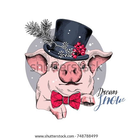 Christmas card. Portrait of the pink Pig in a Snowman top hat and in a bow tie. Vector illustration.