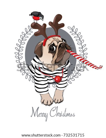 Christmas card. Pug Dog in a striped cardigan, in a horn deer mask and with a red funny party whistle blowing. Vector illustration.
