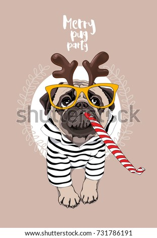 Christmas card. Pug Dog in a striped cardigan, in a horn deer mask, yellow glasses and with a red funny party whistle blowing. Vector illustration.