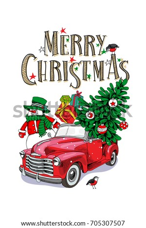 christmas card red retro truck