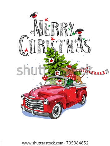 Christmas card. Red retro truck with a fir tree, gifts and the Dachshund in a scarf. Vector illustration.