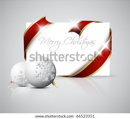 Christmas card - red  ribbon around blank paper with christmas decorations
