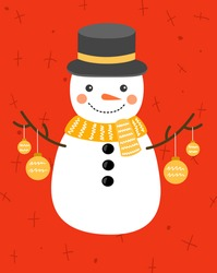 Christmas card.  Round snowman on a red background wearing a hat with Christmas tree decorations