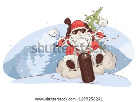 christmas card    santa biker