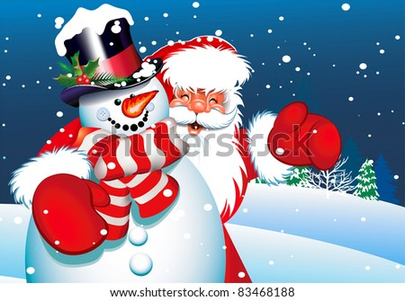 christmas card santa claus and snowman for your design