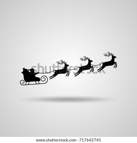 Christmas card. Santa Claus in a sleigh and a reindeer sleigh on a light background with a shadow. flat vector illustration