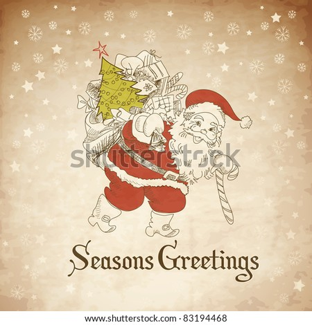Christmas Card. Santa Claus with Bag of gifts. Vector