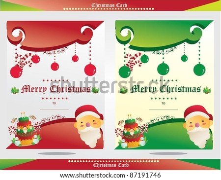 christmas card santa with red and green color